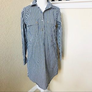 Michael Kors Blue White Stripe  Shirt Dress Small
